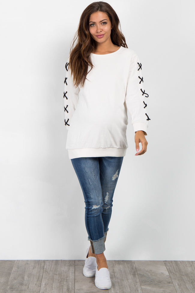 White Cross Sleeve Maternity Sweater