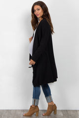 Black Draped Front Sleeve Tie Maternity Coat