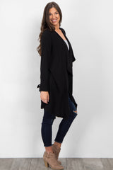 Black Draped Front Sleeve Tie Coat