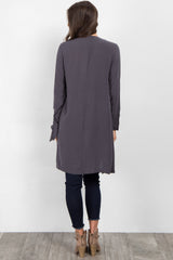 Charcoal Grey Draped Front Sleeve Tie Coat