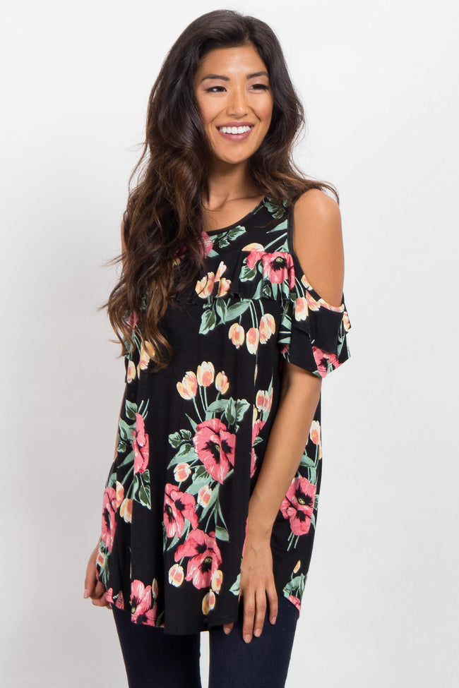 Black Floral Ruffle Cold Shoulder Top