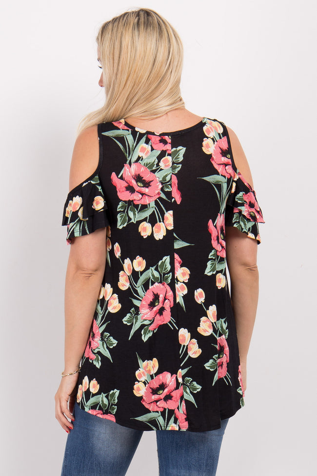 Black Floral Ruffle Cold Shoulder Maternity Top