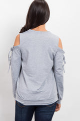 Heather Grey Cold Shoulder Tie Top