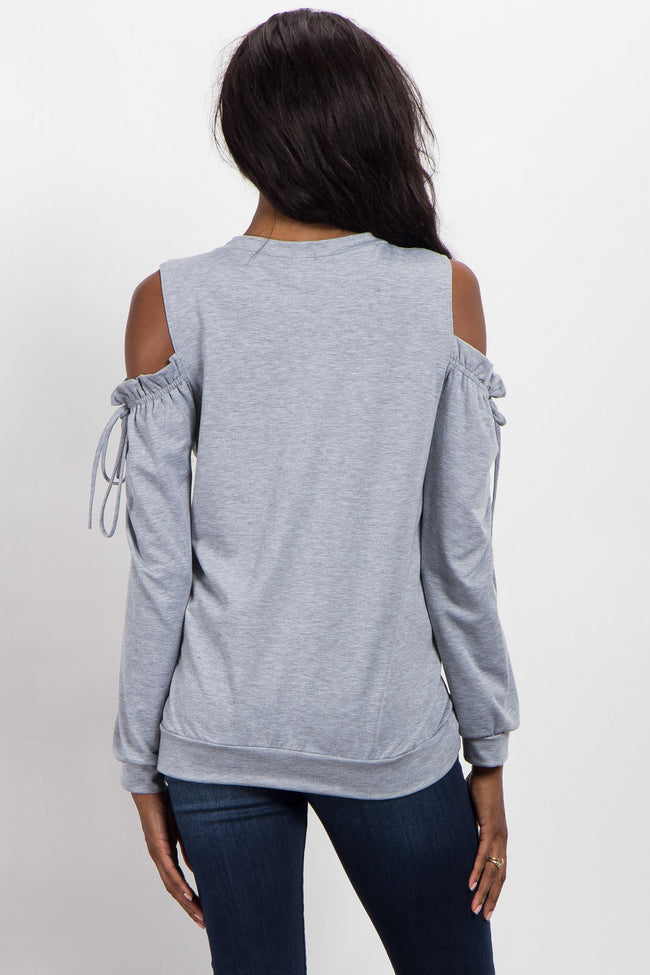 Heather Grey Cold Shoulder Tie Maternity Top