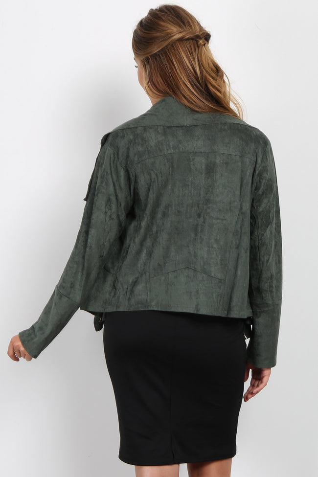 Olive Green Suede Zipper Cropped Maternity Jacket