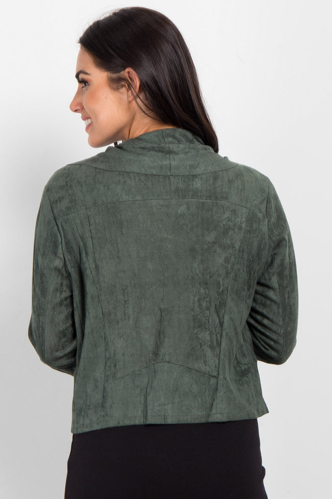 Olive Green Suede Zipper Cropped Jacket
