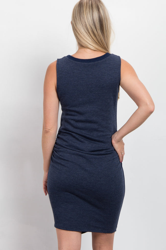 Navy Faux Wrap Fitted Terry Maternity Dress