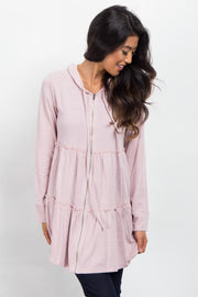Light Pink Tiered Hooded Sweater