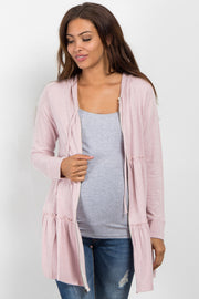 Light Pink Tiered Hooded Maternity Sweater