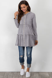 Heather Grey Tiered Hooded Maternity Sweater