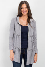 Heather Grey Tiered Hooded Sweater
