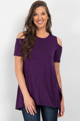 Purple Basic Cold Shoulder Tunic