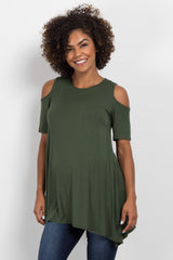 Forest Green Basic Cold Shoulder Maternity Tunic