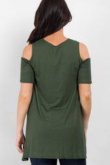 Forest Green Basic Cold Shoulder Tunic