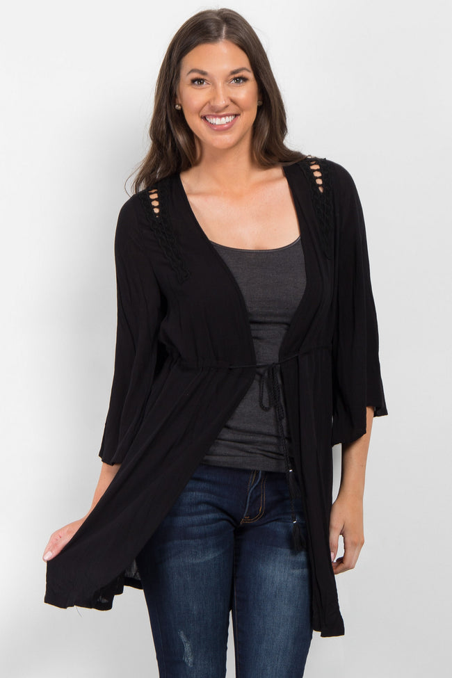 Black Cinched Tassel Tie Cover Up