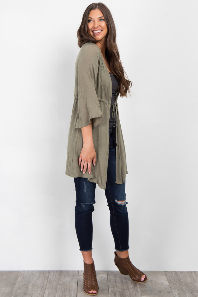 Olive Cinched Tassel Tie Cover Up