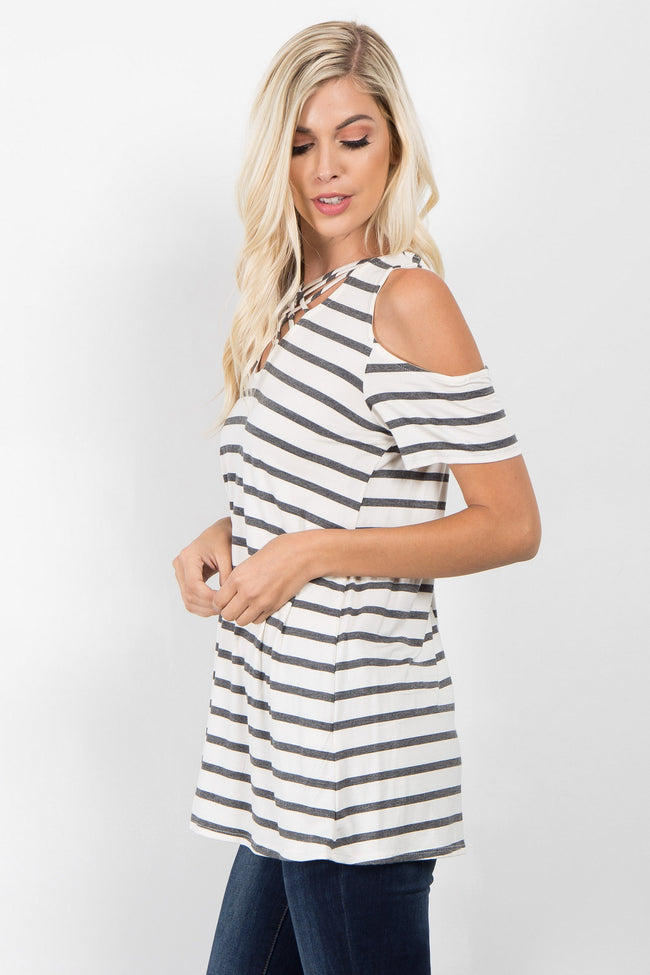Charcoal Striped Crisscross Cold Shoulder Top