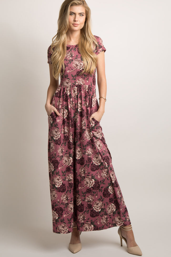Mauve Floral Short Sleeve Maxi Dress