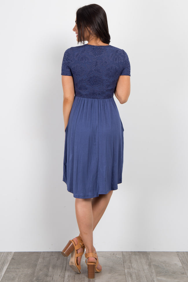 Blue Short Sleeve Lace Top Dress