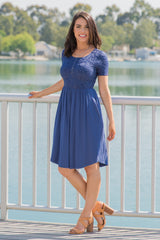Blue Short Sleeve Lace Top Maternity Dress