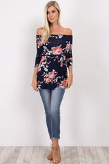 Navy Blue Floral Foldover Off Shoulder Top
