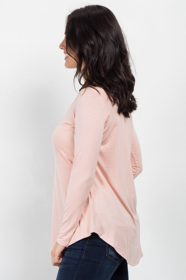 Peach Caged Front Long Sleeve Top
