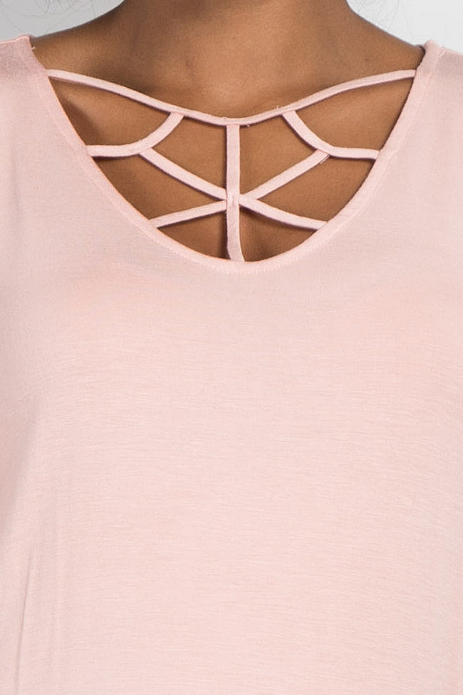 Peach Caged Front Long Sleeve Maternity Top