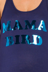"Navy Blue ""Mama Bird"" Graphic Maternity Tank Top"
