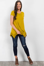 Yellow Ruffle Trim Asymmetrical Top