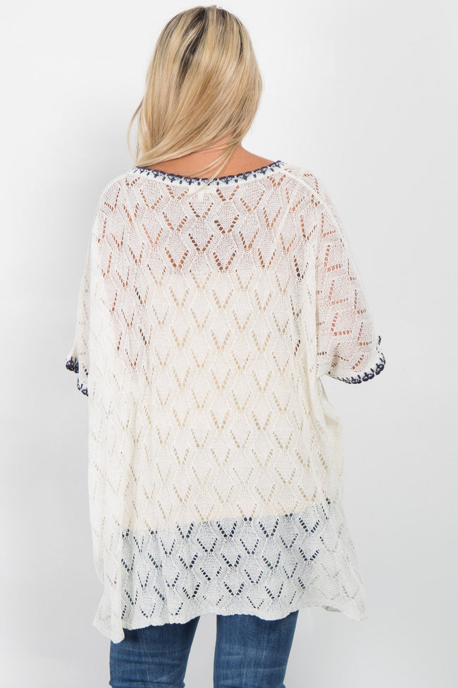 White Open Knit Dolman Sleeve Maternity Top