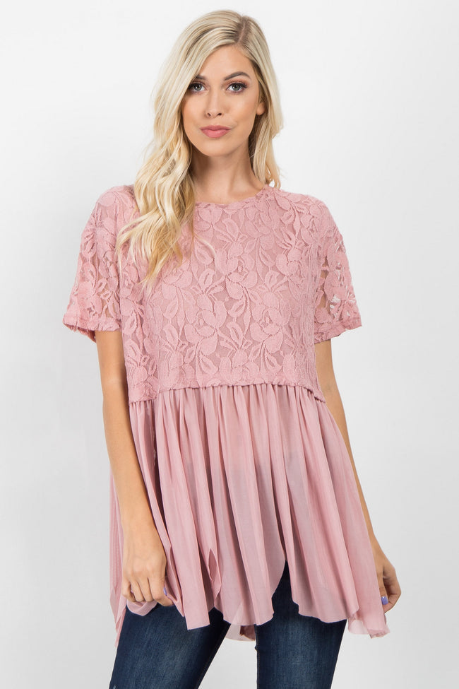Light Pink Lace Top Mesh Peplum Top