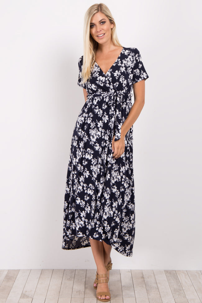 Navy Floral Hi-Low Maternity Wrap Dress