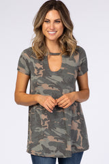 PinkBlush Olive Faded Camo Print Cutout Front Maternity Top