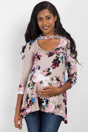 Taupe Abstract Floral Cutout Front Top