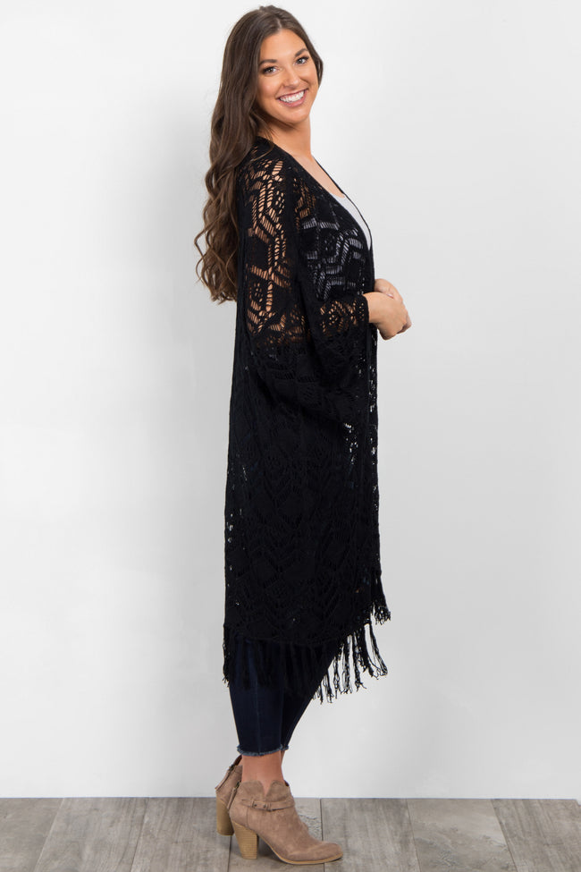 Black Open Knit Fringe Cardigan