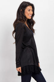 Black Crochet Trim Knit Maternity Cardigan