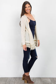 Cream Crochet Trim Knit Maternity Cardigan