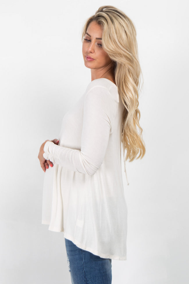 Cream Solid Lace-Up Back Maternity Top