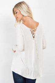 Cream Solid Lace-Up Back Top