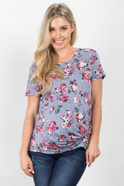 Grey Floral Short Sleeve Knotted Maternity Top