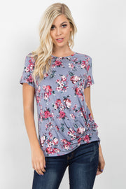 Grey Floral Short Sleeve Knotted Top