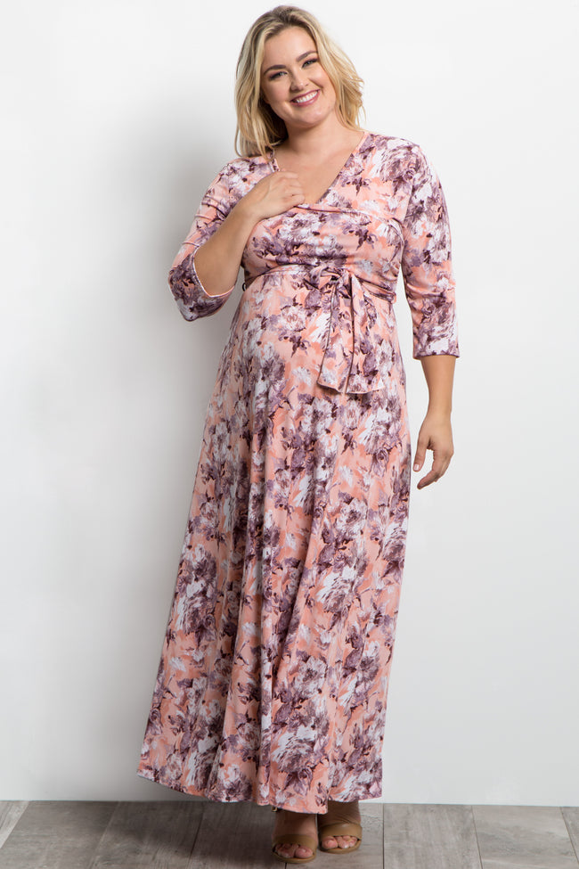 Peach Abstract Floral Plus Maternity/Nursing Wrap Maxi Dress