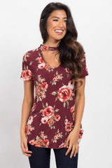 Burgundy Floral Choker Neck Cutout Maternity Top