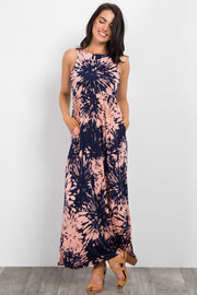 Coral Printed Sleeveless Maxi Dress