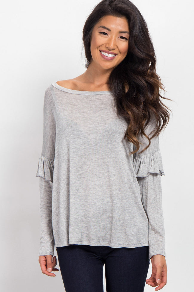 Heather Grey Ruffle Accent Long Sleeve Top