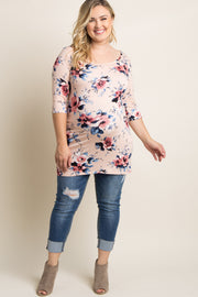 Peach Floral Print 3/4 Sleeve Plus Maternity Top