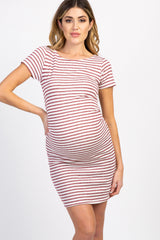 PinkBlush Petite Burgundy Striped Fitted Short Sleeve Maternity Dress