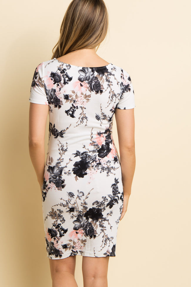 PinkBlush Petite White Floral Fitted Maternity Dress