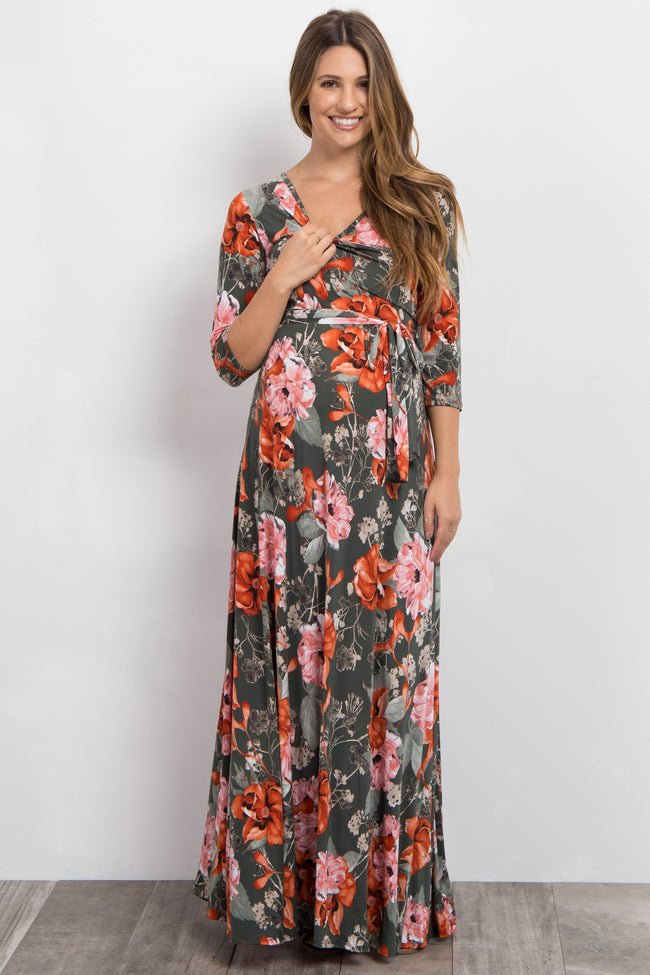 Green Floral Sash Tie Maternity/Nursing Maxi Dress