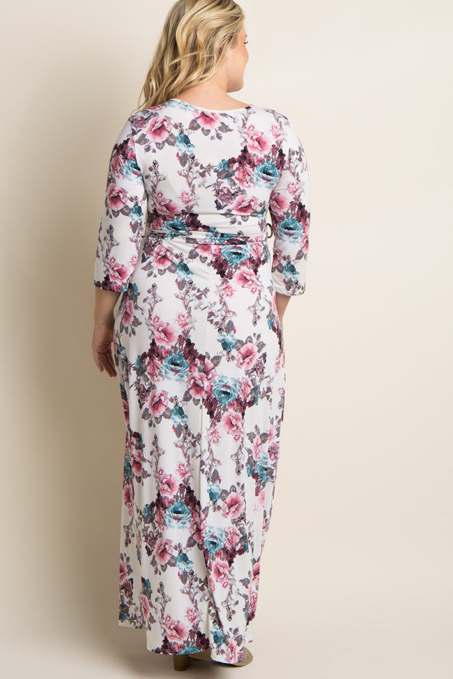 Pink Floral Print Sash Tie Plus Maternity/Nursing Maxi Dress
